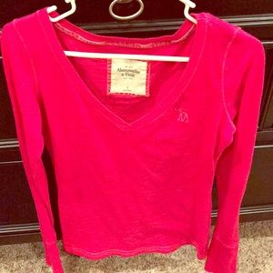 Abercrombie pink long sleeve shirt size Small